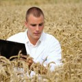 A photo of a rurally located student standing in a wheat field, holding a clipboard