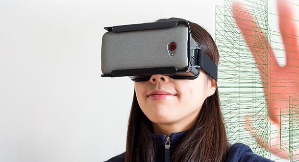 Image of a caucasian female wearing a virtual reality headset device