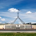 A photo of Australia's Parliament House in Canberra, taken on a bright sunny day