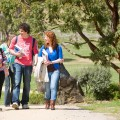 Photo of four university students walking up a gravel path, surrounded by trees