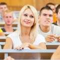 Photo of university students sitting in a lecture theatre