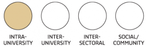 Image of four circles depicting partnership types. The Intra-university circle is highl...