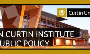 Photograph of Curtin University with text: John Curtin Institute of Public Policy - Cur...