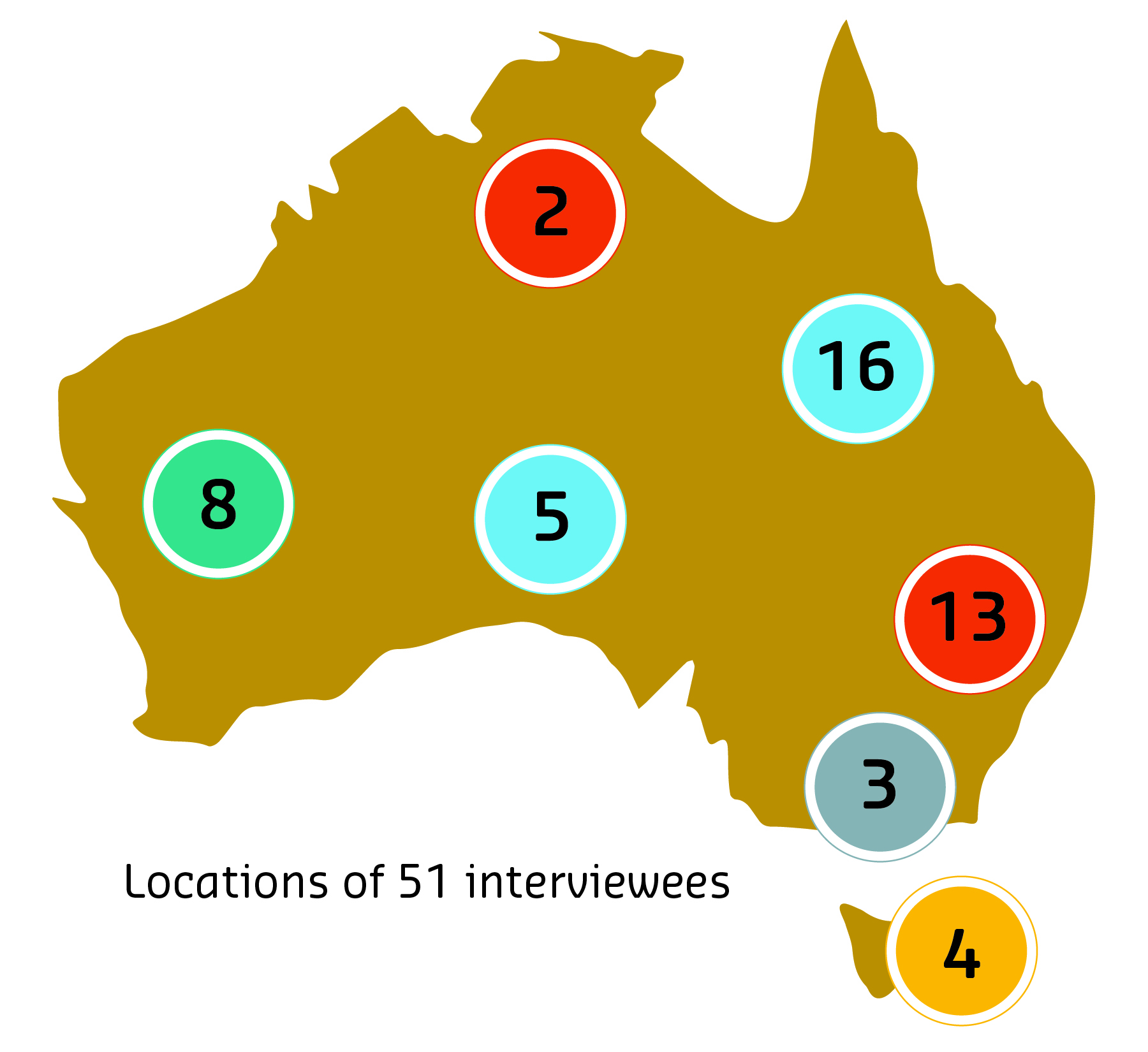 Map of locations of 51 interviewees