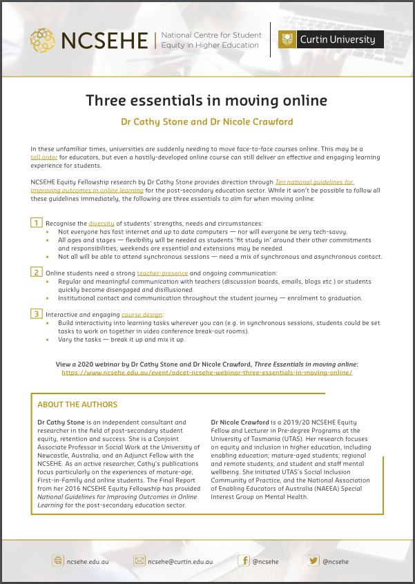 Three essentials in moving online fact sheet