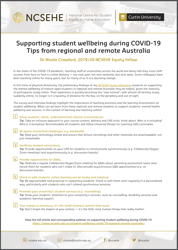 Supporting student wellbeing during COVID-19 information sheet