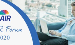 AAIR Forum 2020 Banner. Man sitting on sofa looking at a laptop.