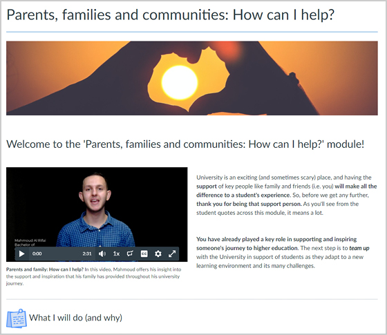 Parents families and communities page
