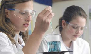 Two students in a laboratory