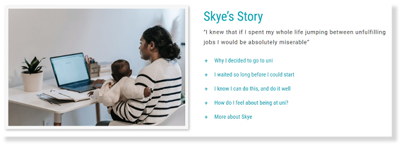 Woman working from home on laptop with baby on her lap. Skye's story text